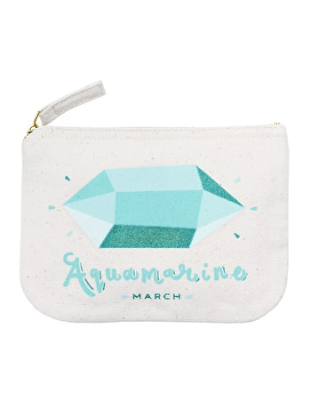 Aquamarine Birthstone Canvas Pouch | Birthday Gift For Her | Alphabet Bags