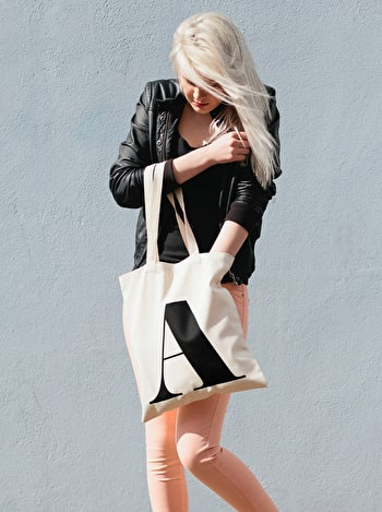 Photo of Initial Cotton Tote Bag - Natural