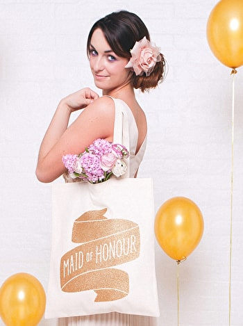 Photo of Maid of Honour Gold Glitter - Wedding Tote Bag