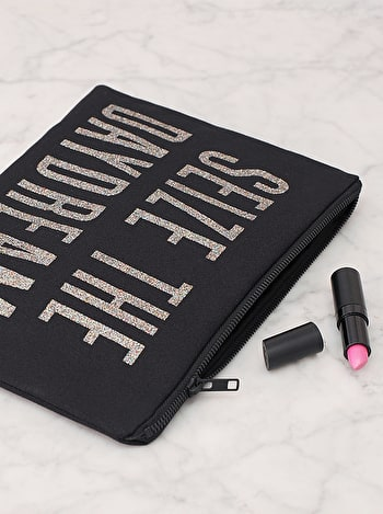 Seize The Daydream Black Canvas Pouch | Black Glitter Clutch | Alphabet Bags