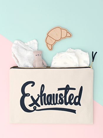 Exhausted XL Canvas Pouch | Nappy Bags | Alphabet Bags