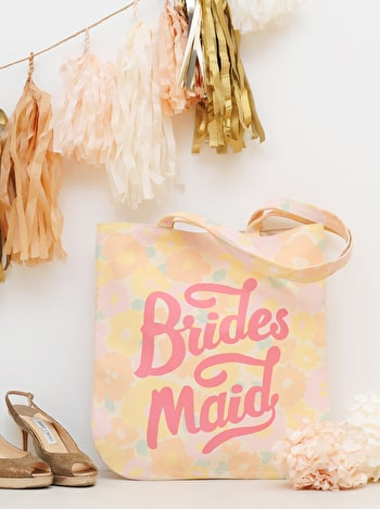 Floral Bridesmaid Tote Bag | Bridesmaid Canvas Bag | Alphabet Bags