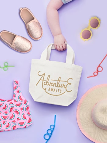 Adventure Awaits Tote Bag | Kid's Beach Tote | Alphabet Bags