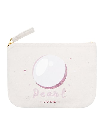Pearl Birthstone Canvas Pouch | Birthday Gift For Her | Alphabet Bags