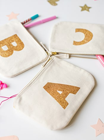 Photo of Initial Canvas Pouch - Little Glitter