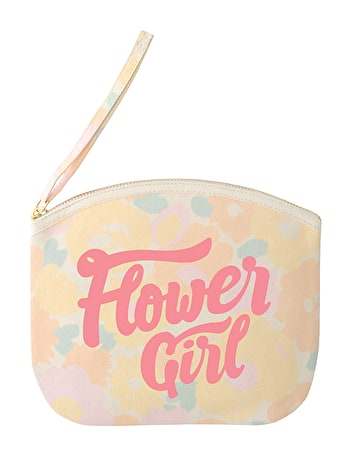 Flower Girl - Floral Canvas Wedding Pouch