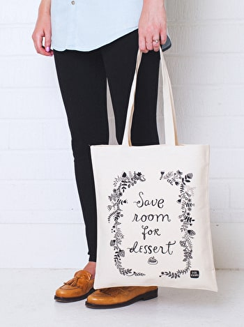 Save Room For Dessert Tote Bag | Dinara Mirtalipova | Alphabet Bags
