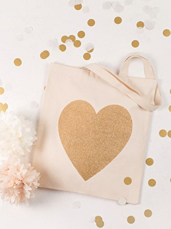Gold Heart Tote Bag | Heart Canvas Shopper | Alphabet Bags