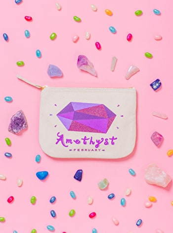 Amethyst Birthstone Canvas Pouch | Birthday Gift For Her | Alphabet Bags