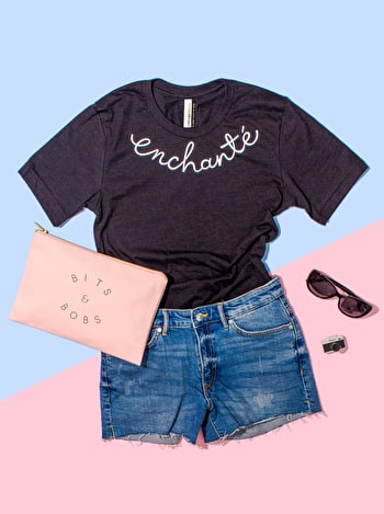 Enchanté T-Shirt | Fun Slogan Tops | Alphabet Bags