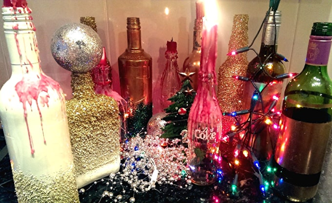 How To: Turn Old Bottles into Christmas Decorations