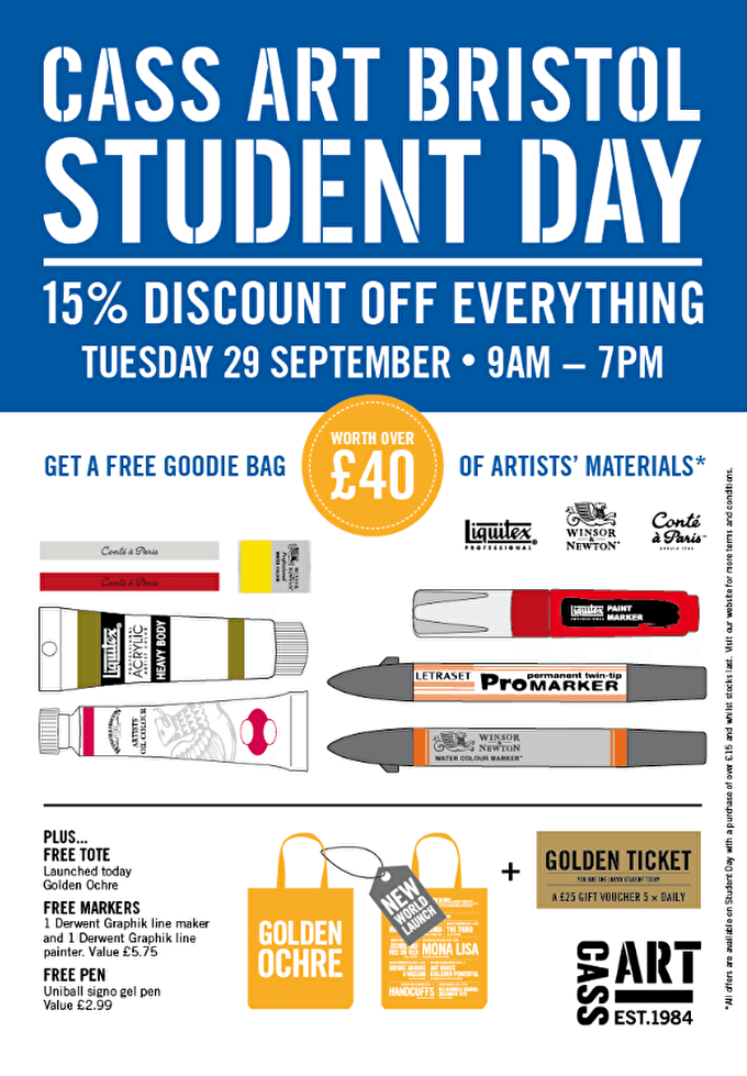 Cass Art Bristol Student Day 2015: 15% OFF + Free £40 Goodie Bag