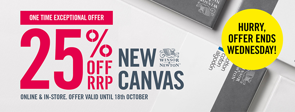 Winsor & Newton Canvas on a one time only offer at 25% off RRP for a limtied time.