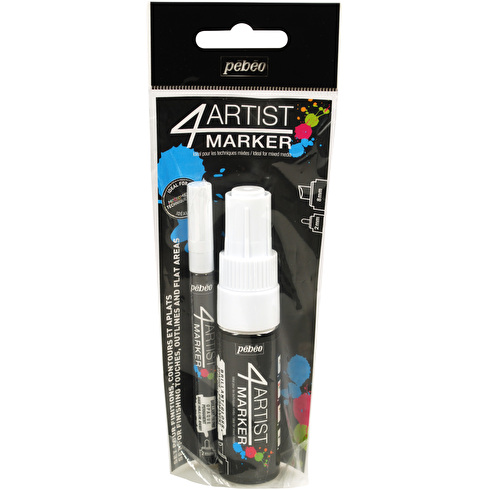 Pebeo 4Artist Marker 2mm and 8mm White Set of 2