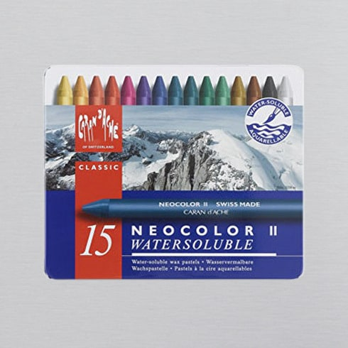 Caran D'ache Neocolor II Aquarelle Wax Pastels Tin Set of 15