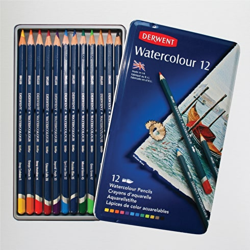 Derwent Watercolour Pencil Tin Set of 12 Assorted Colours
