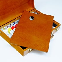 Cass Art Exclusive Luxury Wooden Oil Box 10 x 40ml Michael Harding Colours, 6 Cass Hog Brushes & Small Jullian Box