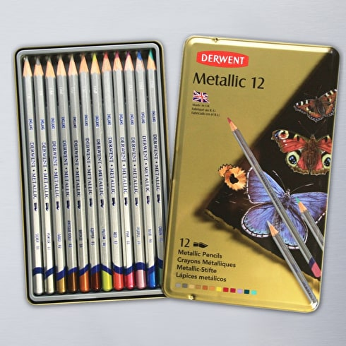 Derwent Metallic Pencil Tin Set of 12