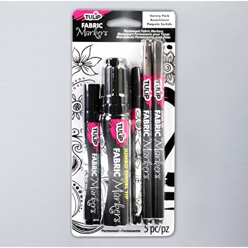 Tulip Fabric Markers Assorted Sizes Black Pack of 5 | Fabric Pens | Cass Art