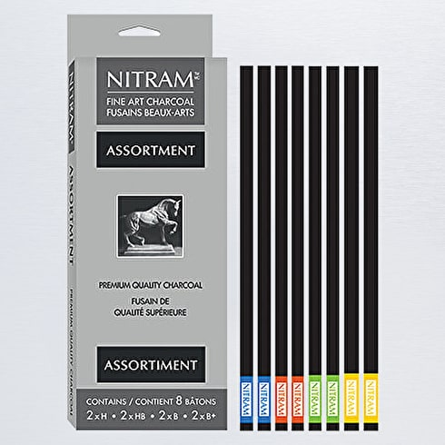 Nitram Batons Moyens Assorted Charcoals Pack of 8
