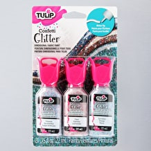Tulip 3D Glitter Confetti 22ml Assorted Colours Pack of 3