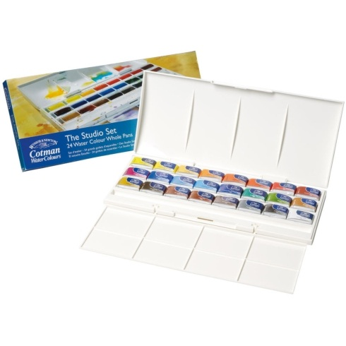 Winsor & Newton Cotman Watercolour Studio Set of 24 Full Pan Assorted Colours