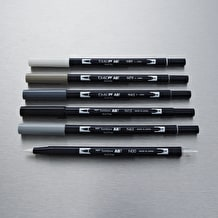 Tombow Dual Brush Pen set of 6 Grey