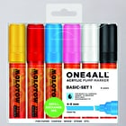 Molotow ONE4ALL Acrylic Pump Marker Basic Set 1 Chisel Nib 4 - 8mm Set of 6