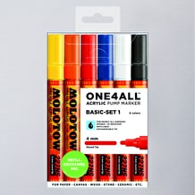 Molotow ONE4ALL Acrylic Pump Marker Basic Set 1 Round Nib 4mm Set of 6