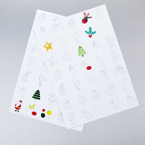 Cass Art Colour In Christmas Stickers A4 Pack of 3