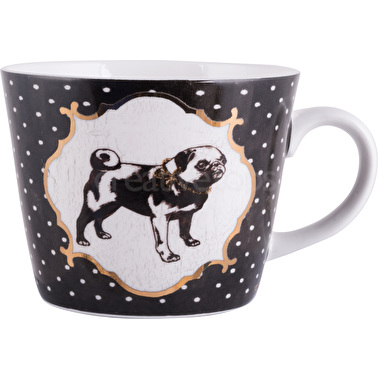 Creative Tops Pampered Pets Black Spot Pug Squat Conical Mug