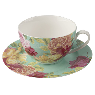 Kew Gardens Southbourne Rose Teacup And Saucer Green