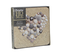 Everyday Home Shell Heart Pack Of 4 Coasters