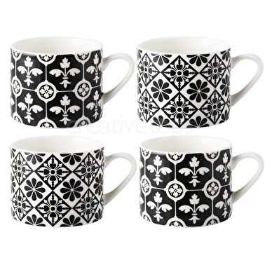 Victoria and Albert Encaustic Tiles Set Of 4 Espresso Mugs