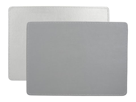 Creative Tops Naturals Premium Pack Of 4 Stitched Edge Faux Leather Placemats Metalic Silver