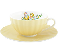 Katie Alice Bird Song Cup And Saucer Yellow Ribbed