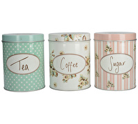 Katie Alice Cottage Flower Tea Coffee Sugar Set Of 3 Tins