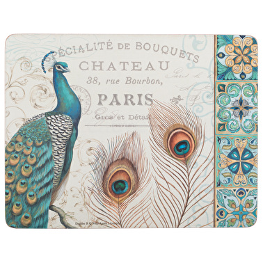 Creative Tops Peacock Pack Of 6 Premium Placemats