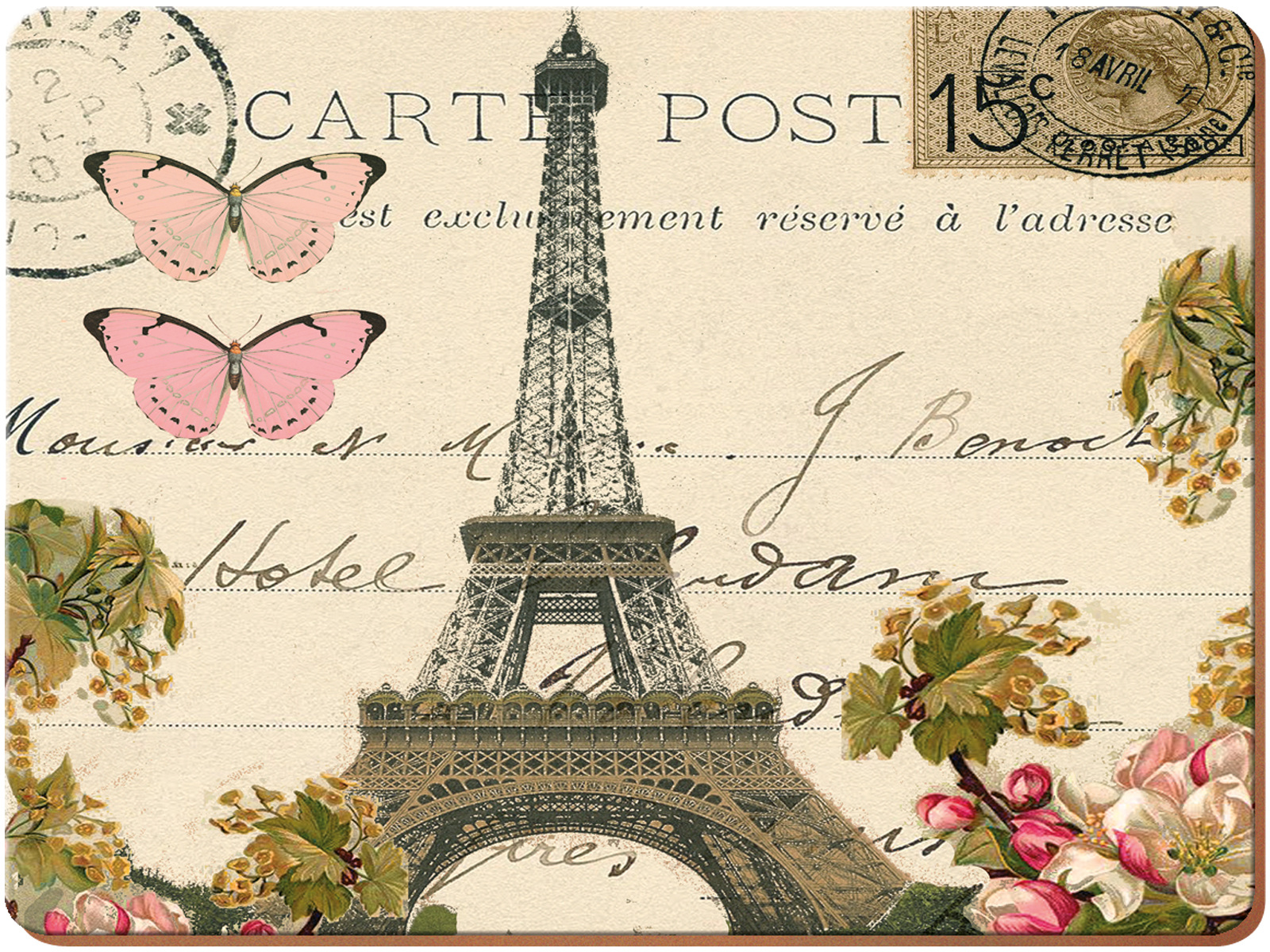Everyday Home Paris Postcard Pack Of 2 Large Placemats