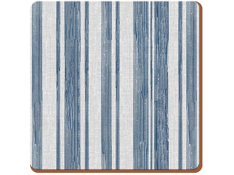 Everyday Home Textured Stripe Pack Of 4 Coasters Blue