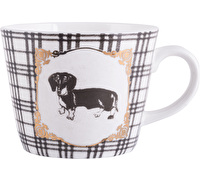 Creative Tops Checked Dashsund Dog Squat Conical Mug
