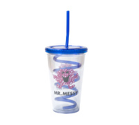 Mr Men Mr Messy Beverage Cup With Curly Straw