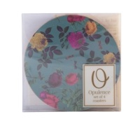 Creative Tops Teal Floral Pack Of 4 Round Premium Coasters