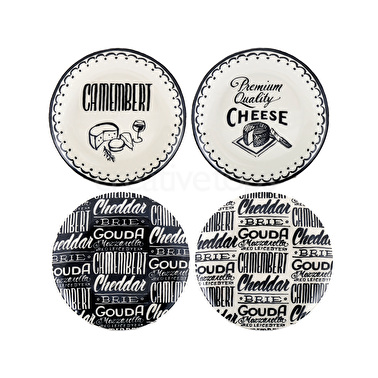Creative Tops Gourmet Cheese Set Of 4 Cheese Plates Black And Cream