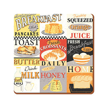 Everyday Home Retro Breakfast Pack Of 4 Coasters