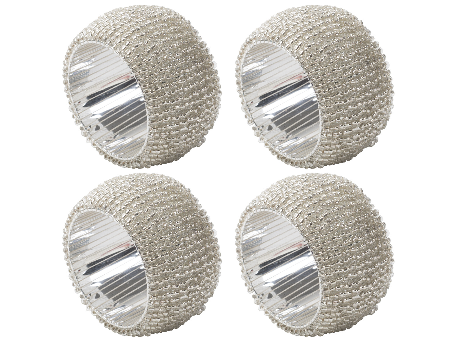 Creative Tops Creative Christmas Set Of 4 Beaded Napkin Rings Silver