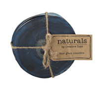 Creative Tops Naturals Pack Of 4 Glass Coasters Blue