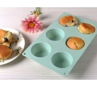 Katie Alice Cottage Flower 6 Cup Silicone Muffin Mould Green