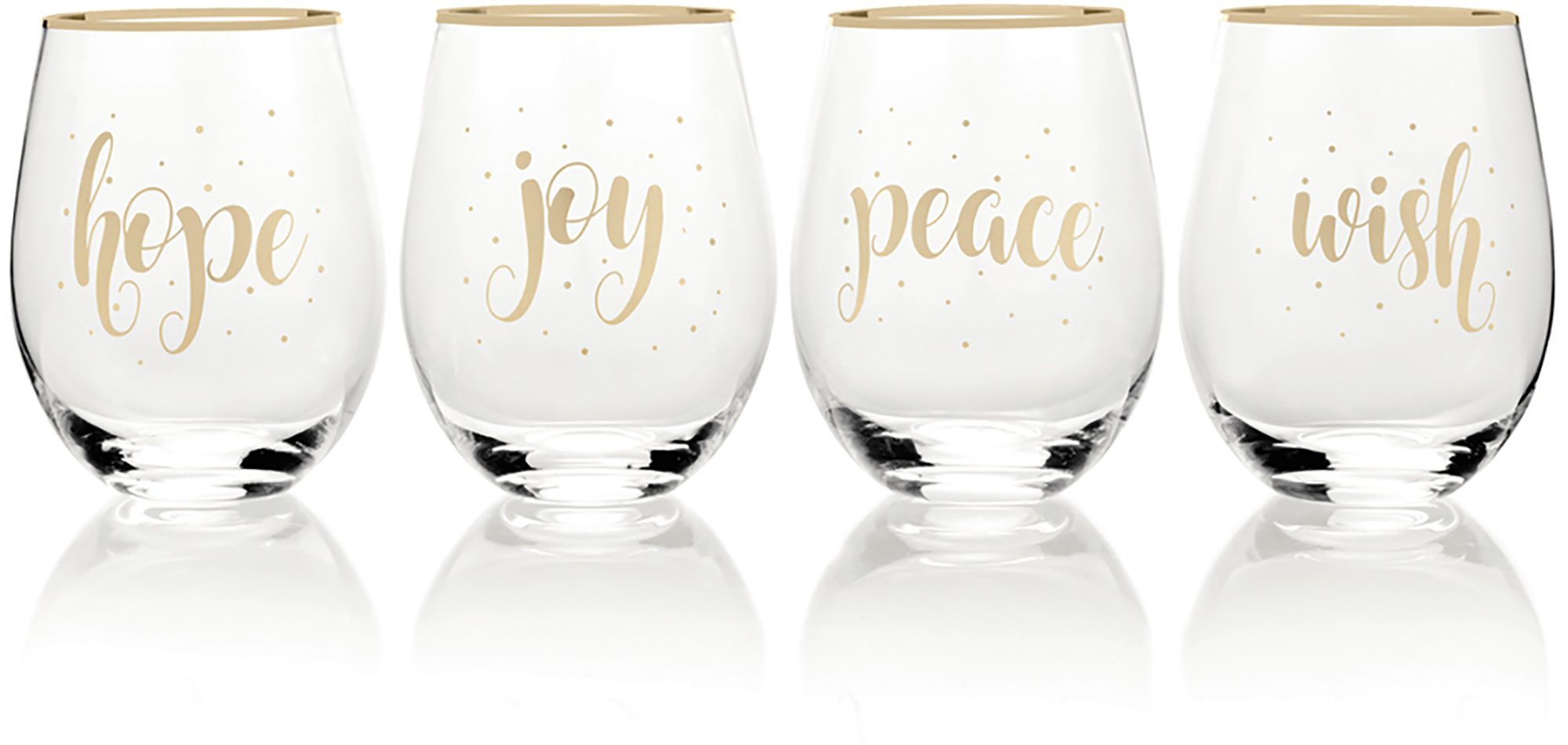 Mikasa Cheers Set Of 4 Stemless Wine Wish, Joy, Peace And Hope Wine Glasses
