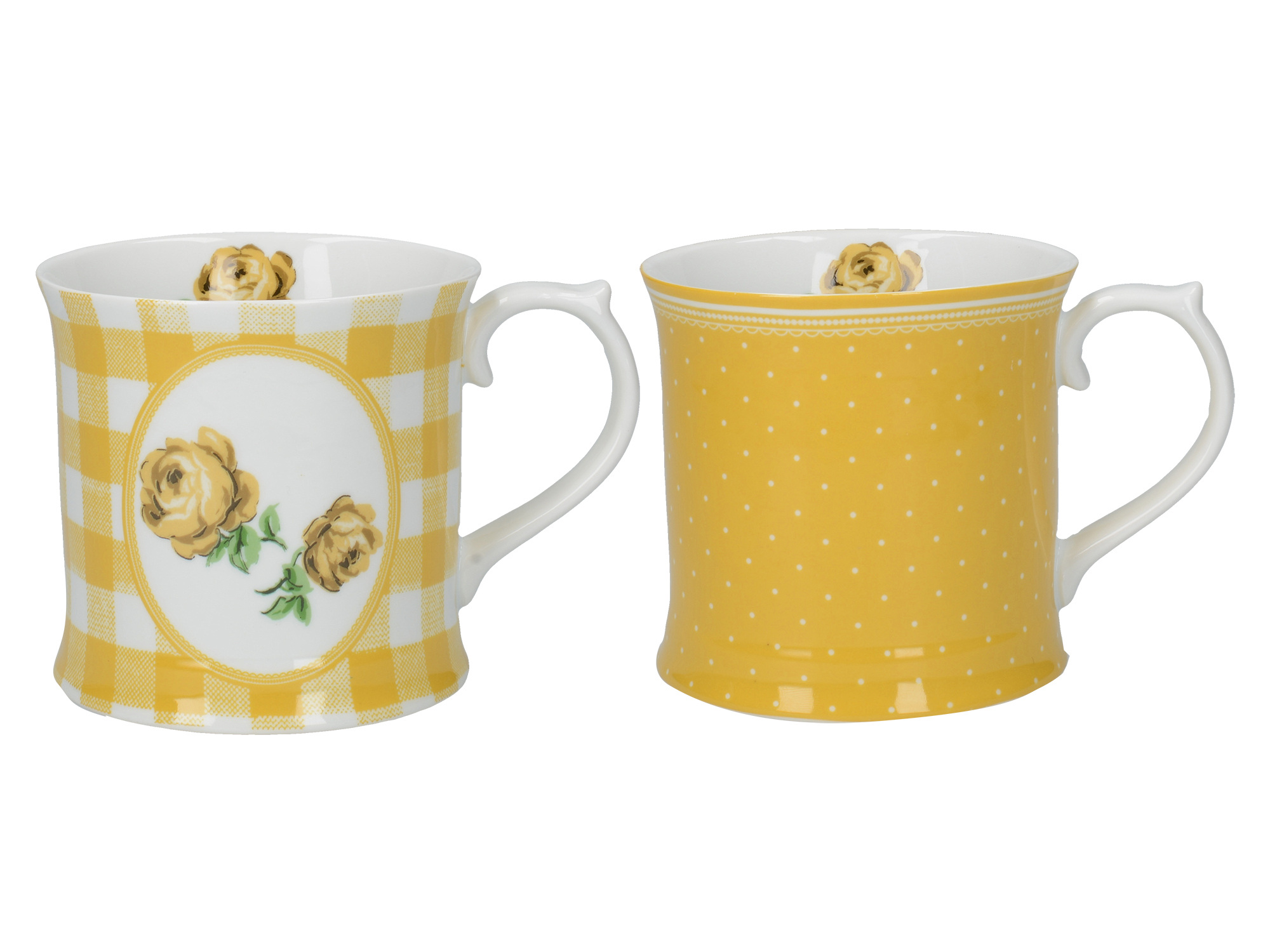 Katie Alice Vintage Roses Set Of 2 Tankard Mugs Tumeric